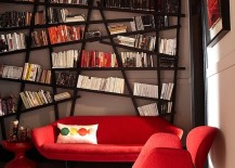 Snazzy bookshelf draws your attention instantly despite bright red decor!