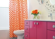Snazzy modern bathroom with a pink and orange color scheme