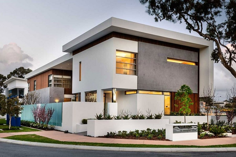 Snazzy street facade brings together a variety of textures Luxurious Decor and Minimalist Overtones Shape Stylish Perth Home