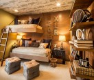 Space-saving beds and brilliant lighting revamp the aura of the rustic bedroom [Design: Mary Cook]
