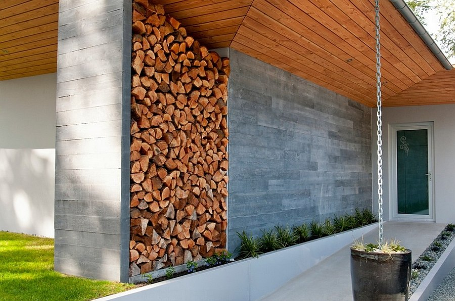 View In Gallery Stacked Firewood Gives This Entry A Dramatic Makeover  [Design: NZ Builders]