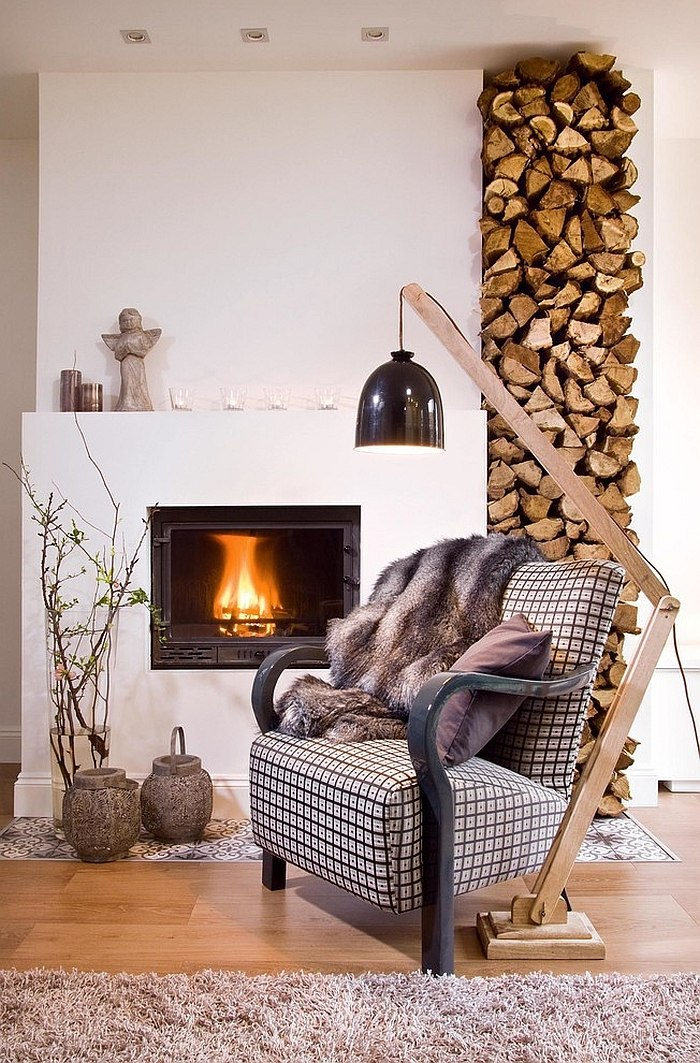 Stacked wood shapes a brilliant backdrop for the cozy reading spot [Design: Designdock Lakberendezés]
