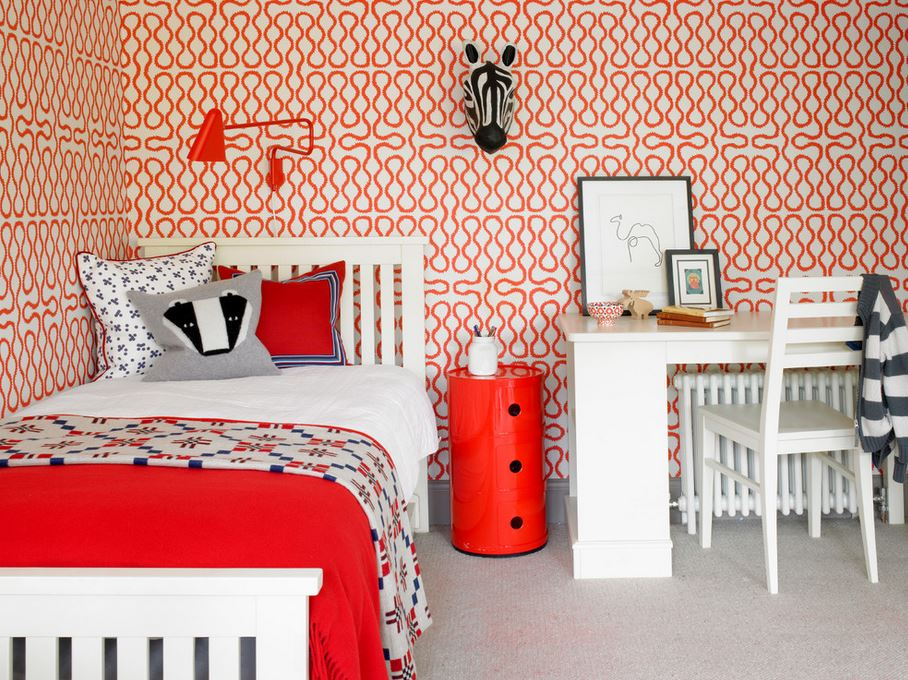 Statement wallpaper in a modern childrens room 10 Unique Kids Room Design Ideas