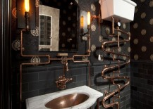 Steampunk bathroom with a dark backdrop and copper fixtures 217x155 20 Exquisite Bathrooms That Unleash the Beauty of Black
