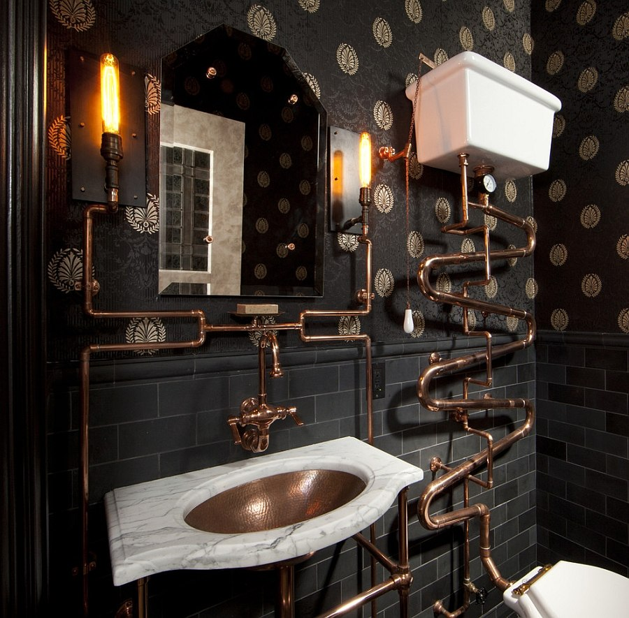 Steampunk bathroom with a dark backdrop and copper fixtures [Design: Andre Rothblatt Architecture]