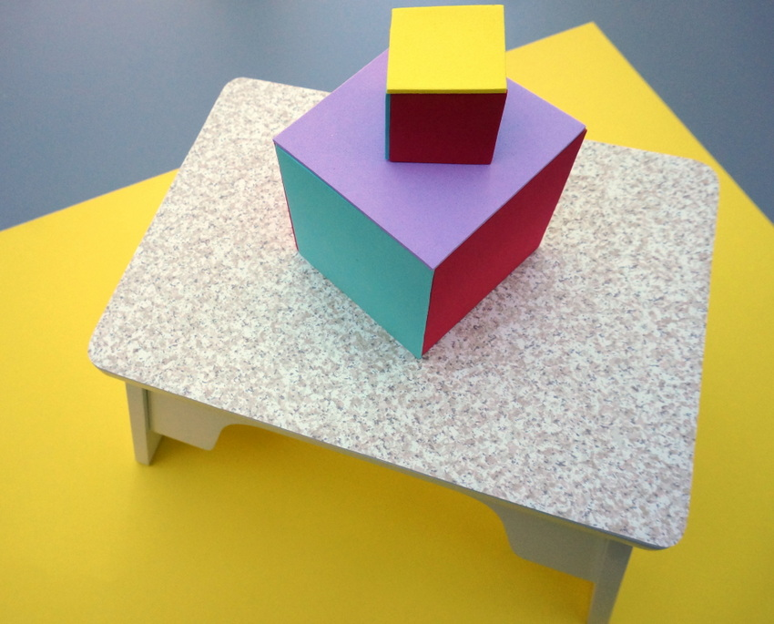 Step stool with contact paper