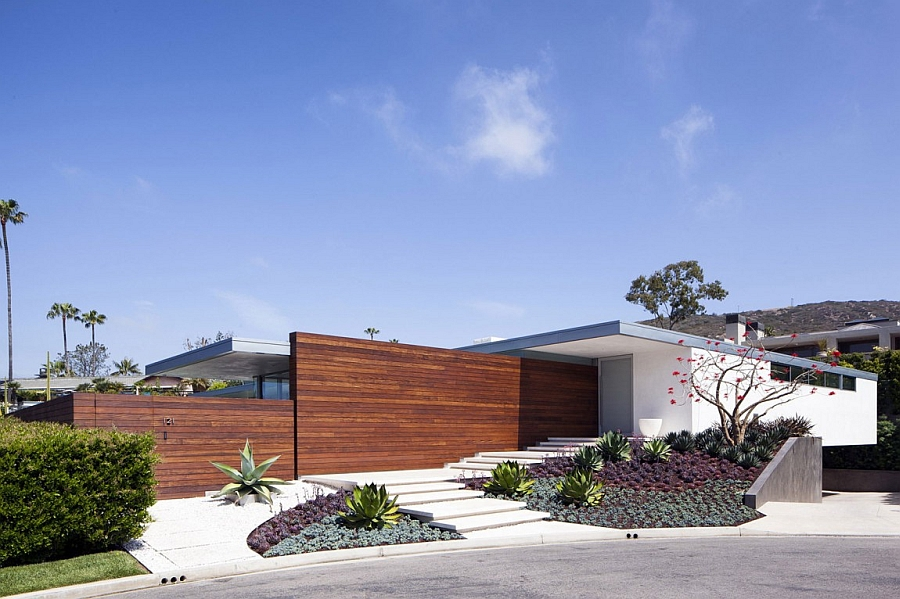 Street facade of the expansive McElroy Residence in Laguna Beach, California
