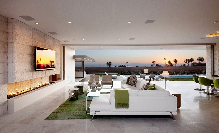 Stunning living space of the Claifornian Home with Pacific Ocean Views