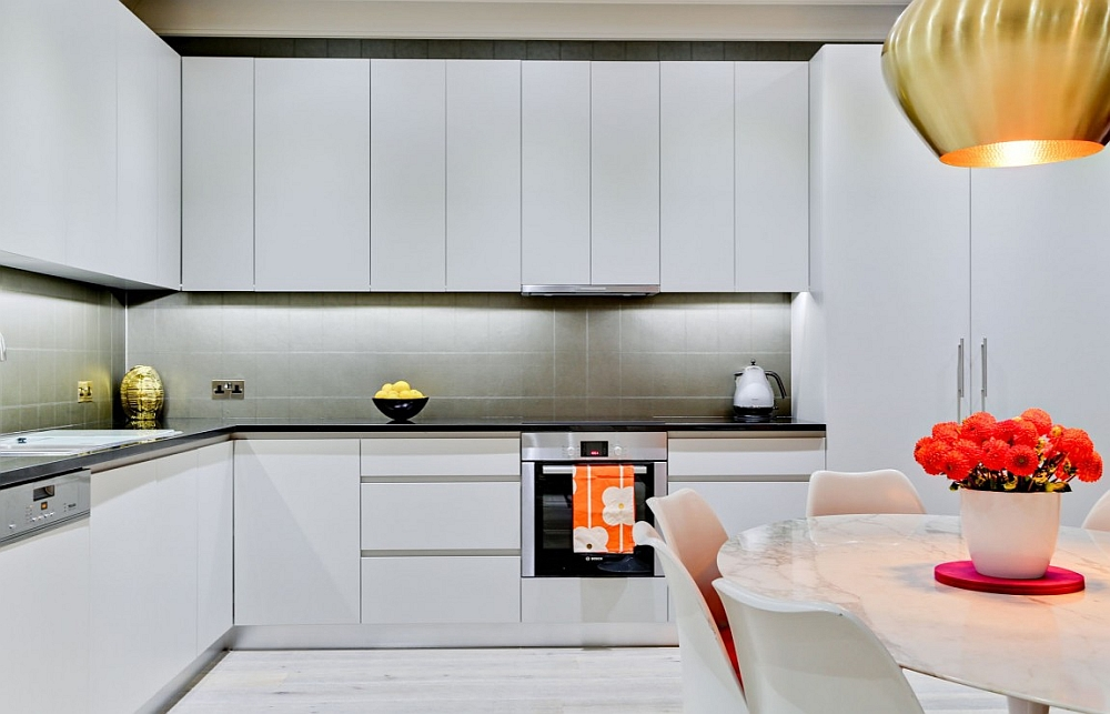 Stylish contemporary kitchen in white and gray