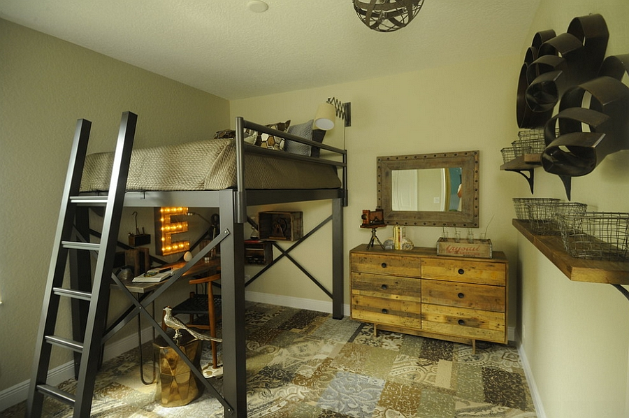 Stylish kids' bedroom with rustic and industrial touches [Design: Lisa Michael Interiors]