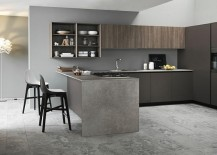 Stylish kitchen island adds textural contrast to the space
