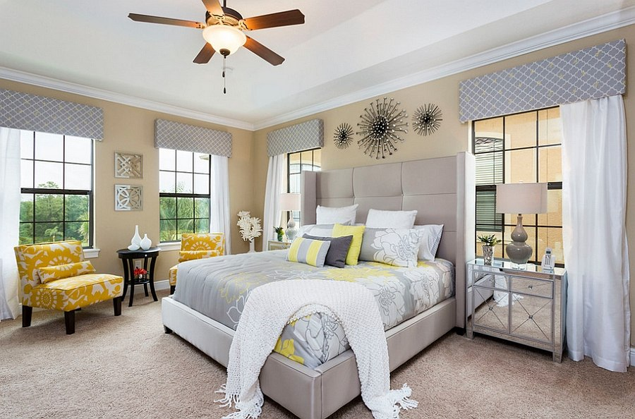 Cheerful sophistication 25 elegant gray and yellow bedrooms for Bedroom ideas grey and yellow