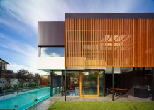 Stylish vertical timber screen offer protection for the outdoor living zone