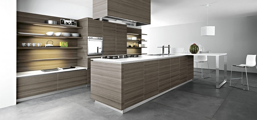 Teak adds warmth and beauty to the classy contemporary kitchen