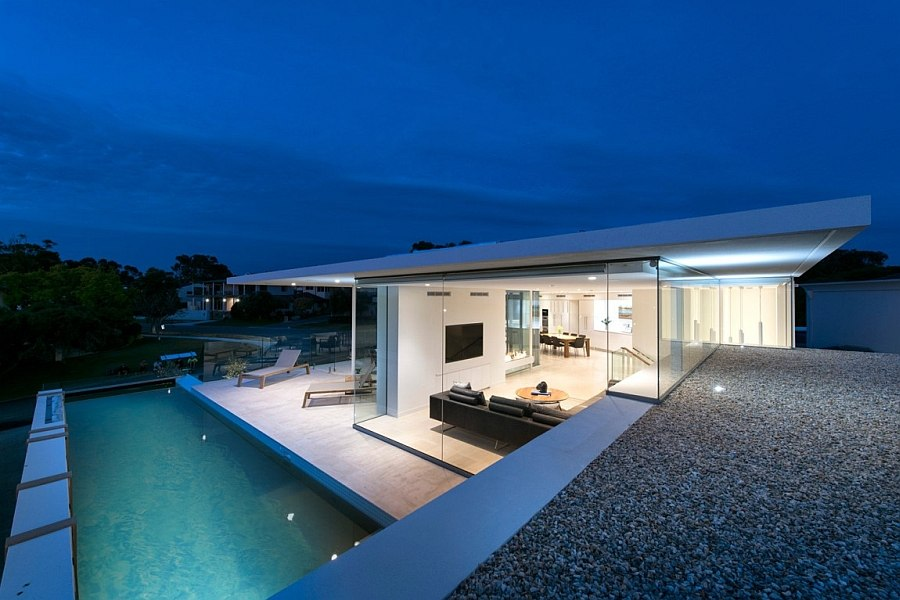 Terrace pool of the contemporary home in Australia