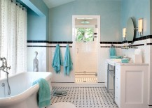Traditional bathroom in turquoise, black and white