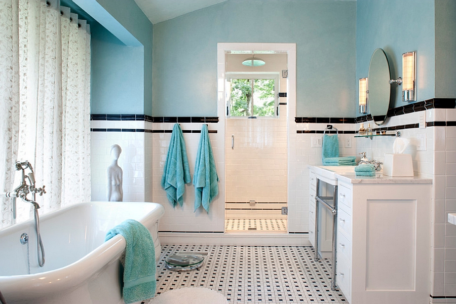 Traditional bathroom in turquoise, black and white [Design: Tyner Construction]