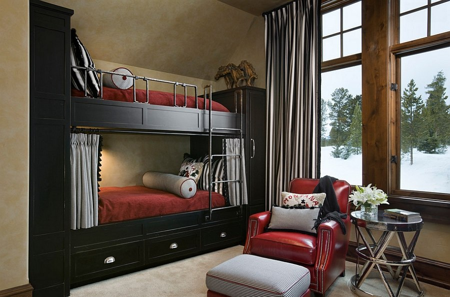 Traditional bedroom with bunk beds inspired by the classic winter cabin look [Design: Locati Architects]