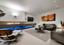Trendy contemporary living room with a sleek fireplace 217x155 Luxurious Decor and Minimalist Overtones Shape Stylish Perth Home