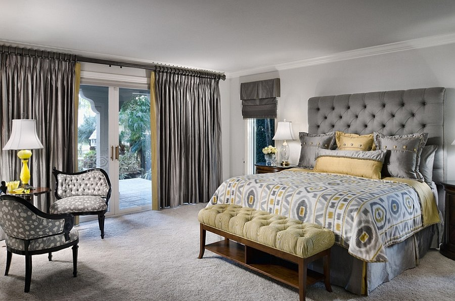 Cheerful sophistication 25 elegant gray and yellow bedrooms for Decorating den interiors
