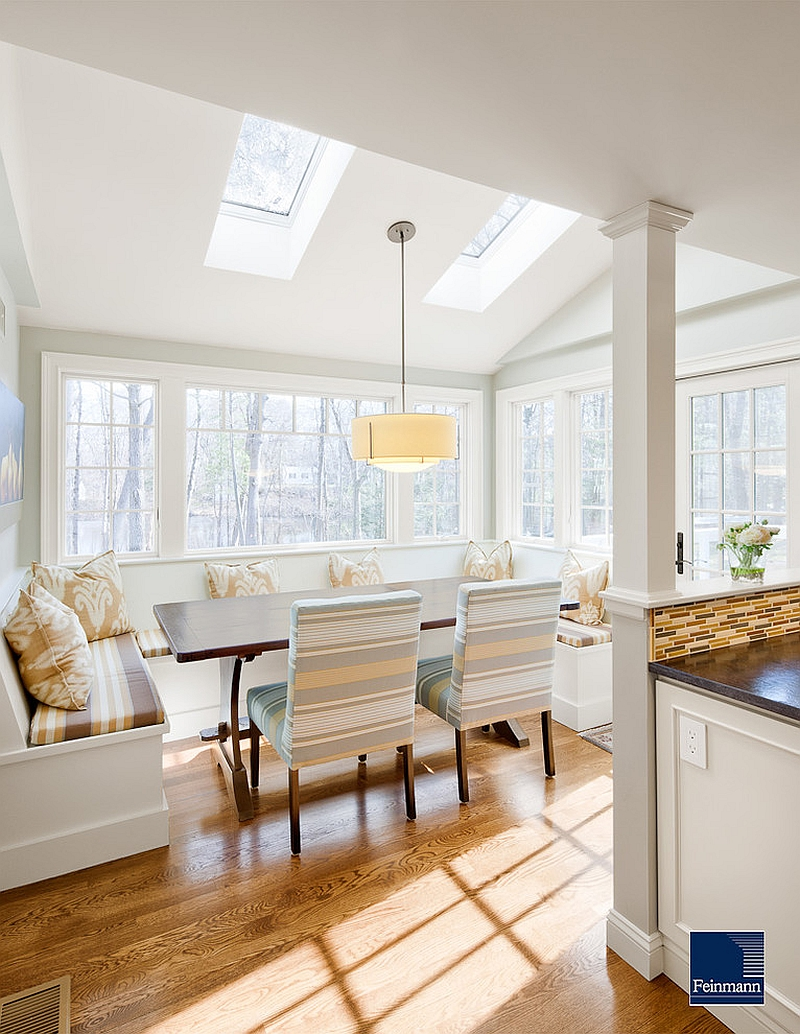 27 dining rooms with skylights that steal the show - Kitchen nook table ideas ...