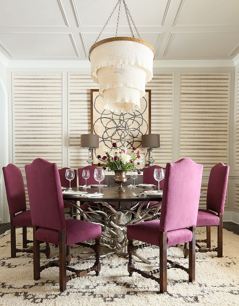 Turn to dining table chairs to bring in some purple [Design: Summer Thornton Design]