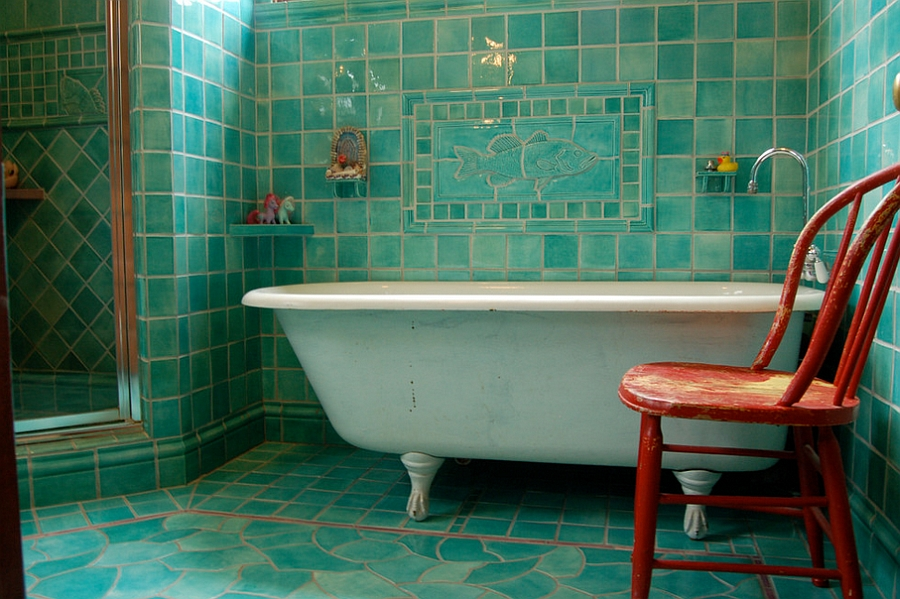 Turquoise and orange make a fun combination in the bathroom [Design: Filmore Clark]