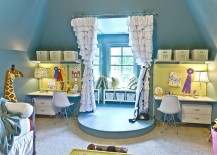 Twin workstations flank the simple performance stage in the kids' room!