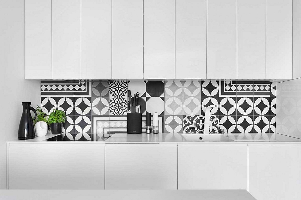 Unique backsplash adds geometric pattern to the kitchen