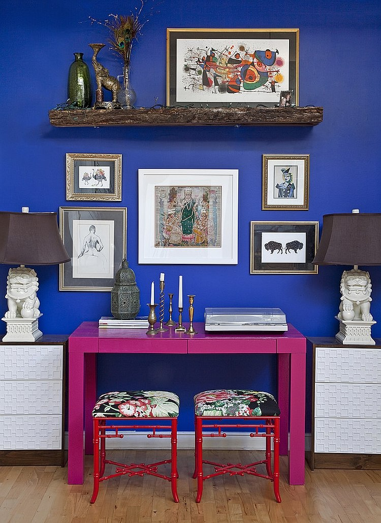 Versatile Parsons Desk in hot pink steals the show here [Design: Design Manifest]