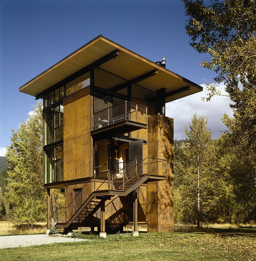 Versatile and low-impact cabin design with a stainless steel frame