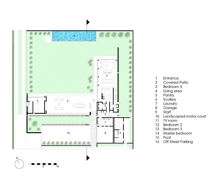 Versatile floor plan of the Johannesburg home with a spacious garden