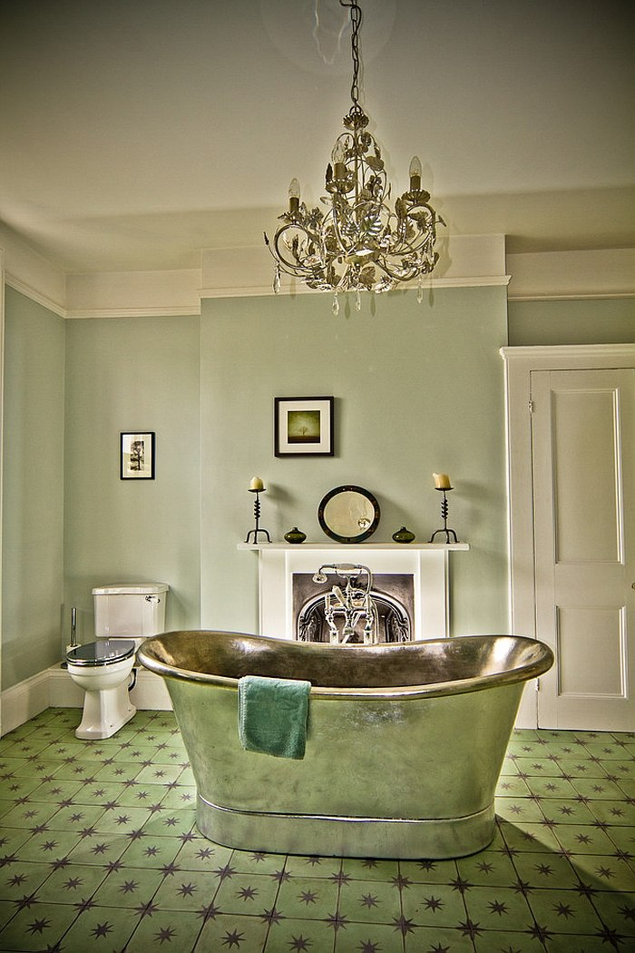Vintage bathroom in green with a standalone bathtub [Design: The Brighton Bathroom Company]