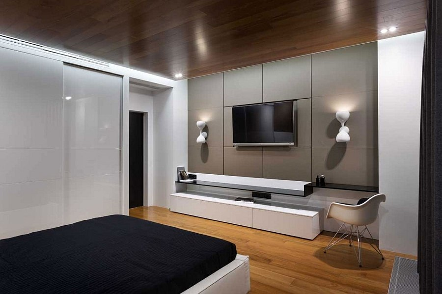 Wall-mounted entertainment unit for the bedroom