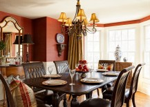 Wallcovering in red brings both color and texture to the dining space