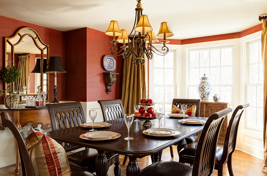 Wallcovering in red brings both color and texture to the dining space [From: Chad Jackson Photo]