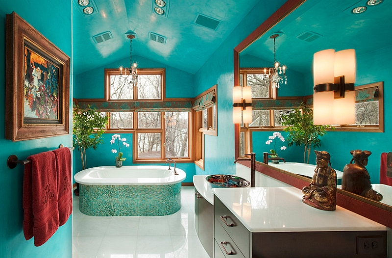 Walls in Venetian Plaster add texture to the gorgeous master bathroom 25 Bathrooms That Beat the Winter Blues with a Splash of Color!
