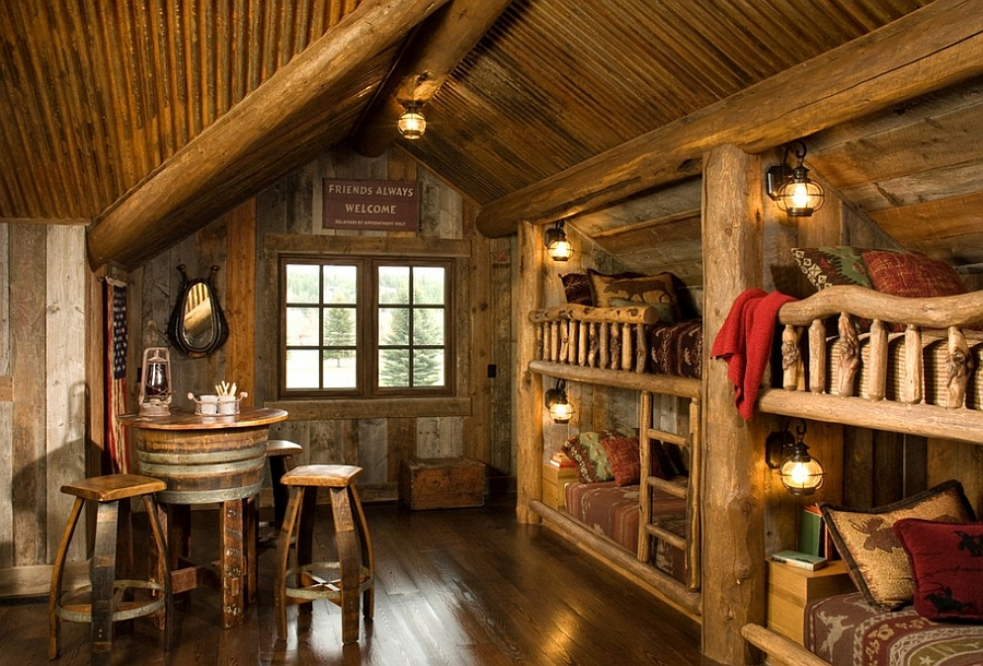 Rustic kids bedrooms 20 creative cozy design ideas for Log cabin style bunk beds