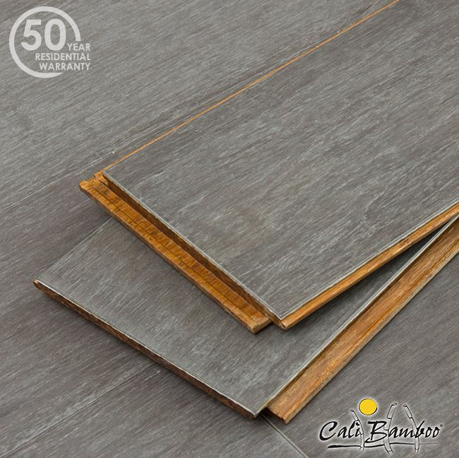 Wide click bamboo flooring in a shade of gray