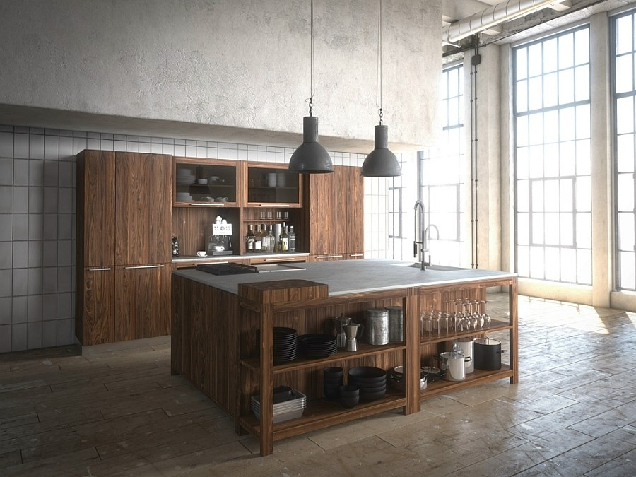 Wild walnut Loft kitchen composition