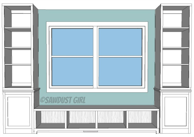 Window Seat and Bookcase Plan