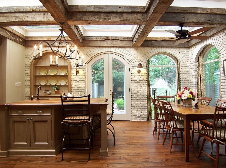 Wooden beams give the kitchen a rustic charm