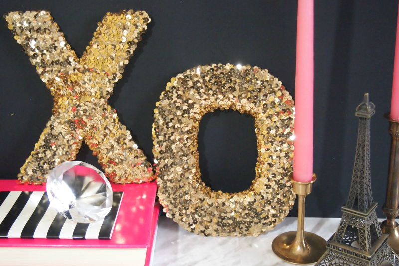 XO sequinned letters with  chic pink accessories
