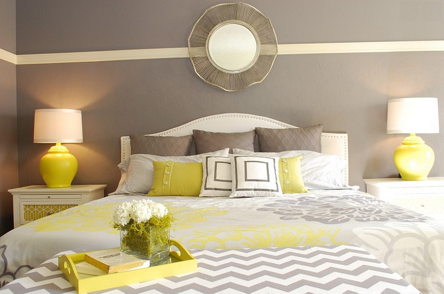 ... Yellow beside lamps bring symmetry to the room [Design: Judith Balis  Interiors]
