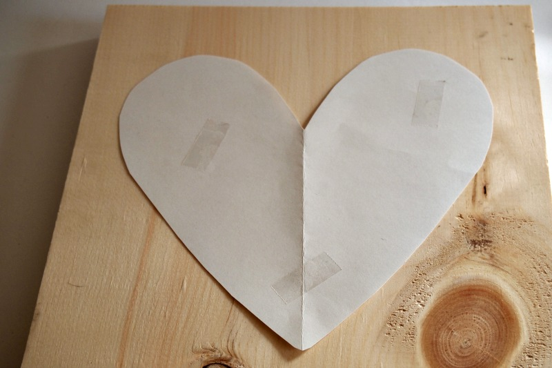 Double sided tape for heart template