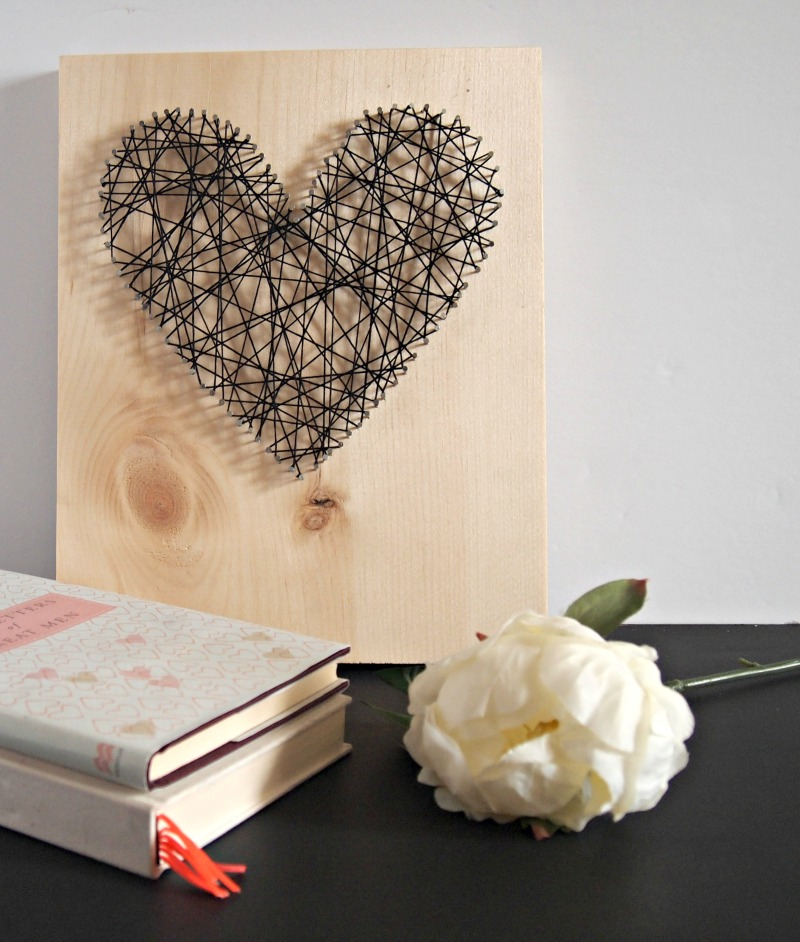Heart art on bedside table