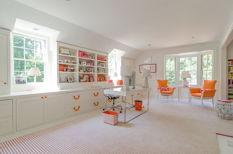 A restrained touch of orange brings brightness to the home office