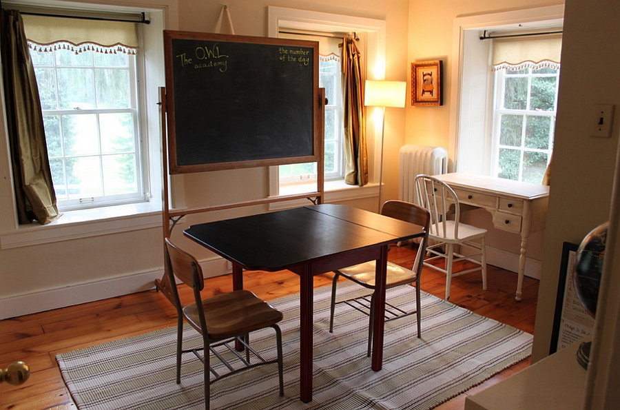 A simple chalkboard for the farmhouse style office [Design: Fieldstone Hill]