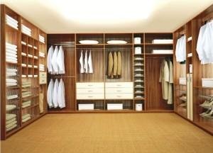 A well-lit organized closet