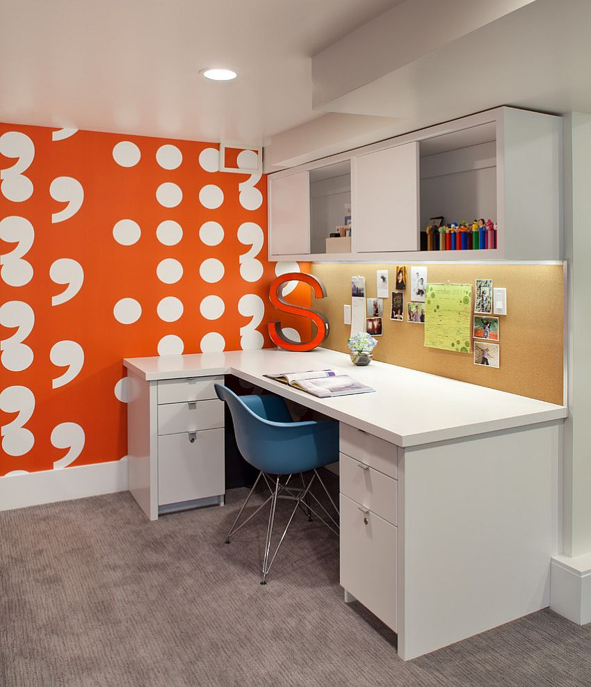 Accent wall in contemporary home office is both fun and stylish